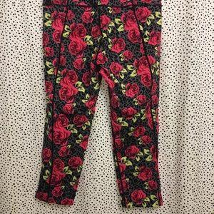 Betsy Johnson rose print leggings